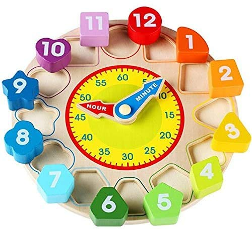 Webby Wooden Early Educational Teaching Clock-Time & Shapes Sorting Toy for Kids, 12 Pieces (Multicolor)