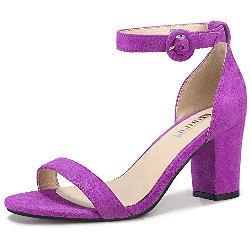 IDIFU Women's IN3 Amy Block Heels Sandals Comfy Ankle Strap Open Toe Chunky Wedding Dress Shoes with Round Buckle (Lavender Suede, 7.5 M US)