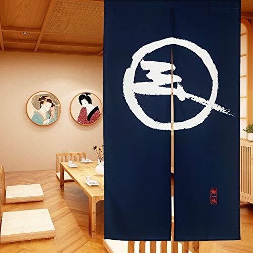 LIGICKY Japanische Gardinen Noren Lang Vorhänge Türvorhang Tapisseri für die Heimtextilien Raumteiler, Blau 85 x 150 cm (Zen)