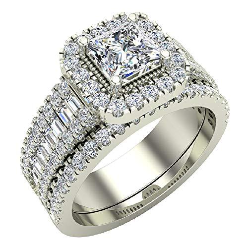 Princess Cut Diamond Cushion Halo Wedding Ring Set 1.60 carat total weight 14K White Gold (Ring Size 8) (G, I1)