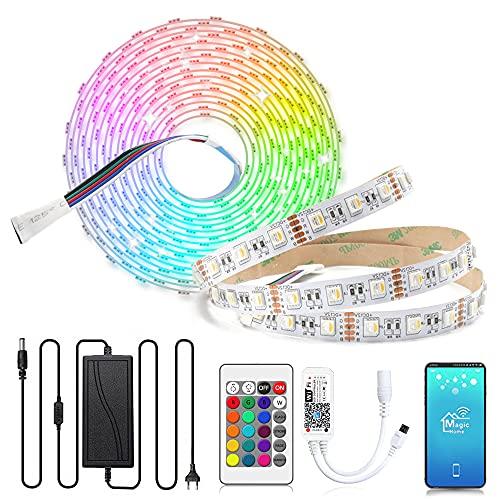Arotelicht 5m LED Streifen 12V LED strip dimmbar RGBW warmweiß 4in1 Farbwechsel Lichterkette rgbww Lichterband mit WIFI Fernbedienung und Netzteil, 5050 SMD dimmbar, für Innen Deko Kücke Wohnzimmer