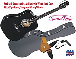 Santa Rosa 6 String K555WC Full Size Western All Black Dreadnought Guitar with Wood Case, Right Handed