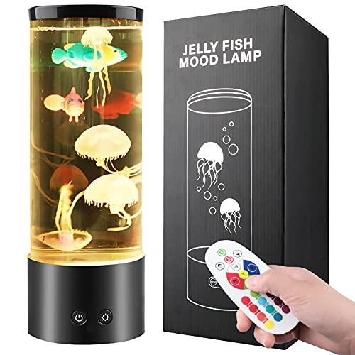 Dcola Jellyfish Lamp Lampada Meduse Colorata, Acquario Cilindro 29CM 16 Colori Mood Light, Luce Notturna Bambini Lampada da Tavola per Rilassante o Deco, Vero Jellyfish Più Gioia per Bambini Regalo