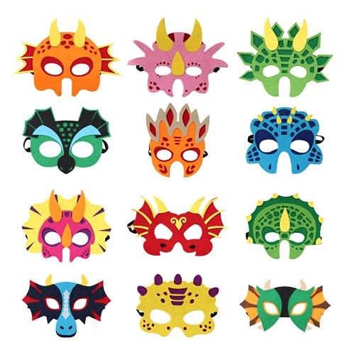 Dinosaurier Masken,12 Stück Dinosaurier Filz Masken,Masken Cosplay Party,Geburtstag Augenmaske,Kostüm Party Rollenspiel Maske,Charakter Masken passen für Maskerade Halloween Dress Up Party Supplies