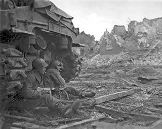 New 8x10 World War II Photo: American Infantrymen Seek Shelter Behind Tank