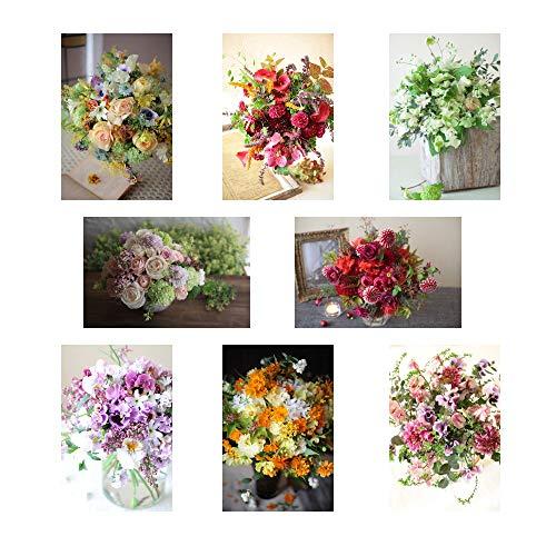 ポストカード 花の写真 8枚(8種)+おまけ1枚 セット 花屋オリジナル 花 ブーケ 花束 絵葉書 アレンジメント POSTCARD おしゃれ 絵はがき (21-03-Set3)
