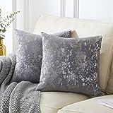 OMMATO Fundas de cojín de terciopelo gris de 60 cm x 60 cm, cuadradas, plateadas, doradas, decorativas, fundas de almohada de 60 x 60 cm, para sofá, dormitorio, sala de estar, paquete de 2