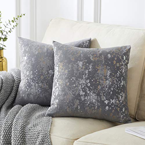 OMMATO Velvet Grey Cushion Covers 45cm x 45cm Square Silver Gold Print Decorative Throw Pillowcases 18 x 18 inch for Sofa Bedroom Living Room Pack of 2