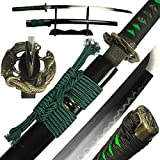 DTYES Full Handmade Japanese Samurai Katana Sword (T10 Carbon Steel Clay Tempered Blade-Dragon and Snake Tsuba Samurai Sword)
