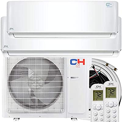 COOPER AND HUNTER 2 Zone 9000 12000 BTU Ductless Mini Split Air Conditioner Heat Pump Full Set WiFi Ready Energy Star Rated