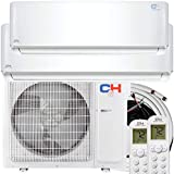 Dual Zone 9,000 + 12,000 BTU Ductless Mini Split AC/Heating System, Pre-Charged, Heat Pump, 21.3 SEER Energy Star Certified, Including Copper Line Set and Communication Wires