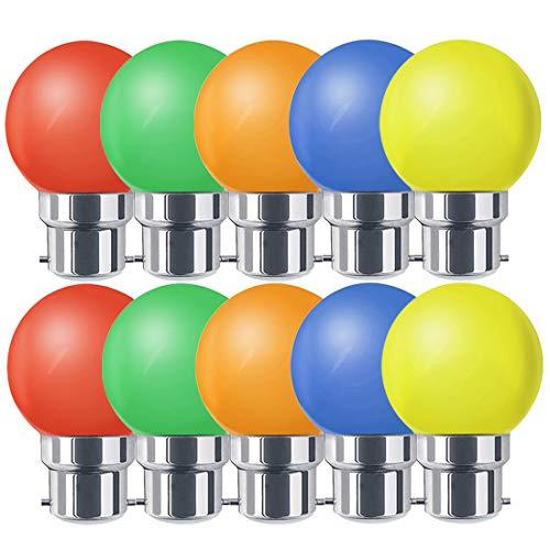 Ampoules baïonnette B22 - Paquet de 10 ampoule LED Feston 1 W (équivalent 10W), ampoule écoénergétique écoénergétique colorée verte, petites ampoules de Noël BC Cap