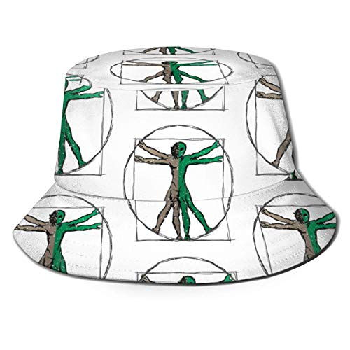Eimer Hut Da Vinci Alien Vitruvian Mann Eimer Hut Unisex Sonnenhut gedruckt Fisherman Packable Travel Hat Mode Mode Outdoor Hut