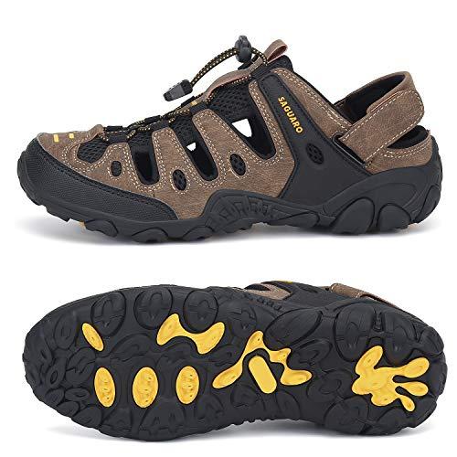 SAGUARO Sandalias Deportivas para Hombres Sandalias de Senderismo Verano Cerradas Zapatos Trekking Antideslizante Transpirable Sandalias de Playa Outdoor, 075 Marrón, 40 EU