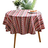 Round - 60' Tablecloth Cotton Linen Bohemian Style Red Table Cloth for Home Tabletop Decoration