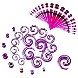 JDXN 64 Pieces Acrylic Spot Gauge Kit Spiral Tapers Tunnels and Plugs 14G-00G Ear Stretching Starter Set Body Piercing Jewelry (Purple / 64Pcs / Set)