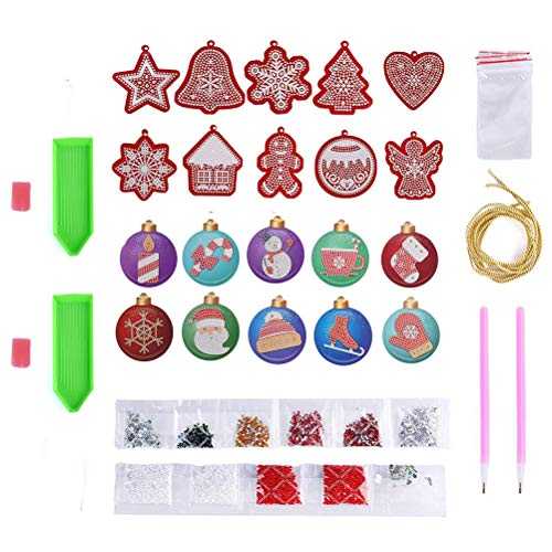 FADACAI DIY Diamond Painting Kits, 5D Diamond Painting Christmas Hanging Ornament Kits, Handmade Christmas Tree Decor, Diamond Painting Tools, Christmas Home Wall Decor