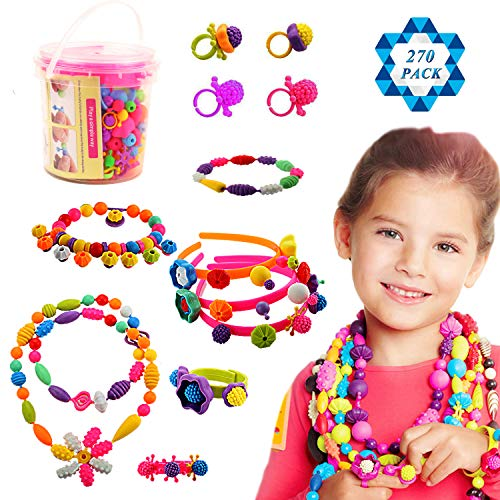 SOTOGO 270 Pieces Snap Beads Pop Beads Art Crafts for DIY Jewelry Making Set Toys (Do Not Need String) - Hair Clasp,Necklace, Bracelet and Ring, Best Toys Gift