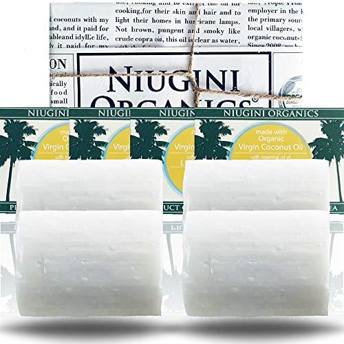 4 x Le Savon Le Plus Pur du Monde NIUGINI ORGANICS | Savon à la noix de coco | Fabriqué à base d'huile de noix de coco biologique et d'huile essentielle de citronnelle | 4 x 100g