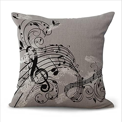 Funda De Almohada Decorativa con Patrón Musical, Sofá De Lino, Dormitorio, Almohada para La Siesta, Silla De Oficina