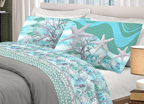 BIANCHERIAWEB Completo Lenzuola in 100% Cotone Disegno Marina Matrimoniale Verde