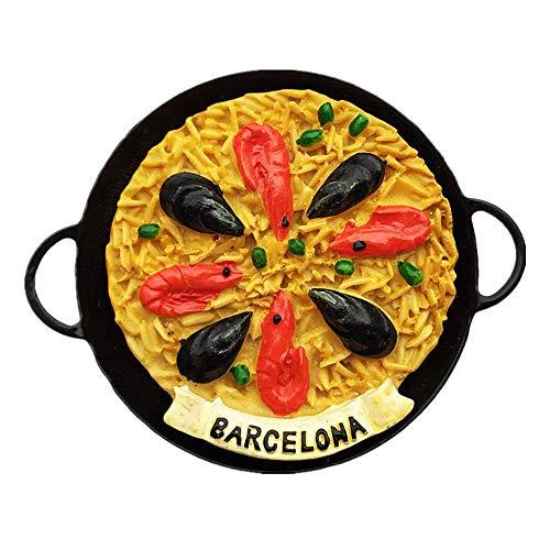 Spaanse keuken Paella-Seafood Rijst van Barcelona Spanje 3D Koelkast Magneet Reizen Souvenir Cadeau, Huis & Keuken Decoratie Magnetische Sticker Barcelona Koelkast Magneet Collectie Rond