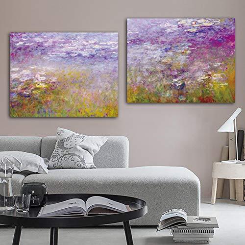 Flduod Beroemde Kunstwerk Bloeiende Amandelboom Waterlelie Vijver Claude Monet Van Gogh Canvas Schilderij Wall Art Voor Woonkamer19.7x23.6inch