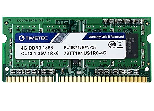 Timetec 4GB Compatible for Synology NAS DiskStation DS218+ DS718+ DS918+ DS418play DDR3L 1866Mhz PC3L-14900 Non-ECC Unbuffered 204 Pin SODIMM Memory RAM(Equivalent to Synology D3NS1866L-4G)