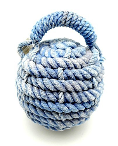 """6"""" Distressed Blue Monkey Paw Nautical Doorstop Rope Sailor Knot"""
