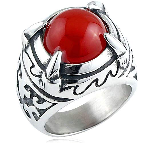 JIANLISP El Anillo de la Vendimia gótica de Acero Inoxidable Dragon Claw Motorista Caballero Rojo Rubí Cruz ágata de los Hombres