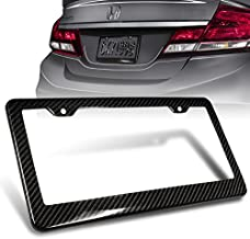1Pc JDM Style 100% Real Carbon Fiber License Plate Frame Holder Black 3D Twill Weave Tag Cover Front or Rear Auto Car US