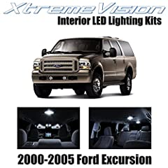Pure White Interior LED Package for 2000-2005 Ford Excursion Package content (12 PCS): Map light (2), Dome light (12), Door light (12), License light (2) 5X Brighter than Factory Bulbs. Lasts 10X Longer. 50% Less Power Consumption. All LED bulbs are ...