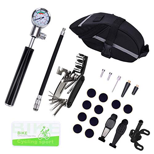 Excellent Home Bike Tire Repair Tool Kit and Mini Bike Pump -Rubber-Free Puncture Repair Kit for Presta and Schrader (Up to 210 PSI), Smart Valve with Pressure Gauge and Bicycle Seat Pocket