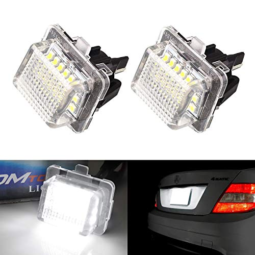 iJDMTOY OEM-Fit 3W Full LED License Plate Light Kit Compatible With Mercedes-Benz C E S Class, Powered by 18-SMD Xenon White LED & Can-bus Error Free