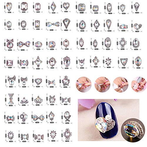 60Pcs 3D Luxury Clear Shining Diamond Rhinestone Alloy Nail Art Decorations Charming Fashionable DIY Distinctive Nail Art Work