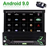 EINCAR Android 9.0 Car Stereo Single Din with 7 Inch Flip Out Touch