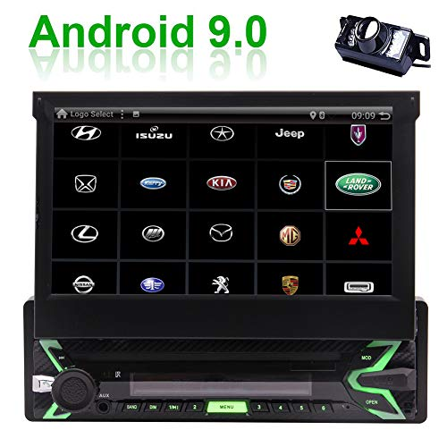 EINCAR Android 9.0 Car Stereo Single Din with 7 Inch Flip Out Touch Screen,GPS Navigation,WiFi,3G,4G,Mirror Link,USB,TF,Remote Control,External Microphone,Rear Camera