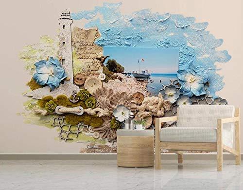 Fototapete 3D-Tapete Vlies-Tapete Relief Mediterrane Landschaft Wandtapete Wandbild Wohnzimmer Schlafzimmer Wanddekoration