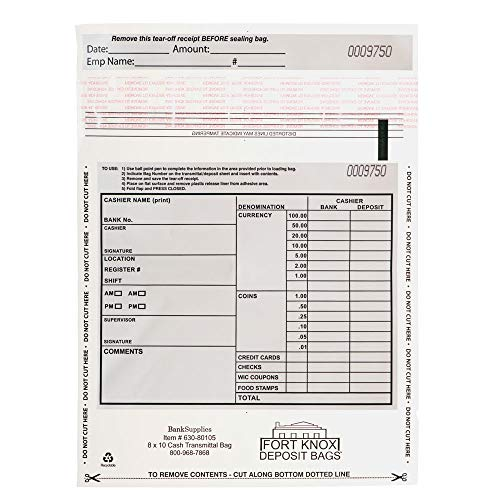 BankSupplies Cash Transmittal Bags | Tamper Evident | 8W x 10H | Case of 100 | Clear Polyurethane Film & Side Weld Seams…