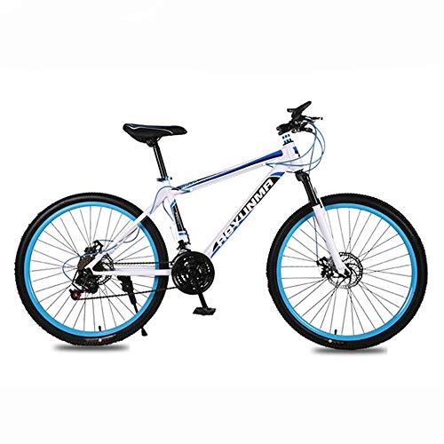 JHKGY Bicicleta De Montaña para Jóvenes/Adultos,Freno De Disco Doble Bicicleta De Montaña,Marco De Acero De 21 Velocidades Ruedas De Radios De 26 Pulgadas,Bicicleta De Doble Suspensión,Azul