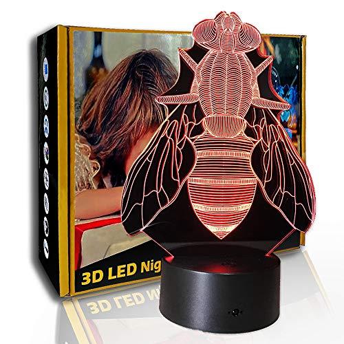 JINYI LED Nachtlicht Ekelhafte Fliegen, 3D Illusionslampe, Nachttischlampe, A - Black Base Berühren (7 Farbe), Neuheitslampe, Glücksgeschenk, Schlafzimmerlampe, Partygeschenk