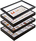 Mebbay Stackable Velvet Jewelry Trays Organizer Set with Clear Lid, Jewelry Storage Displa...