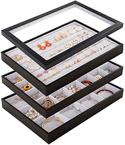 Mebbay - Bandejas apilables de terciopelo con tapa transparente, bandejas de almacenamiento de joyería con cubierta de piel sintética completa para cajones, arete, collares, pulseras, anillos, set de 4