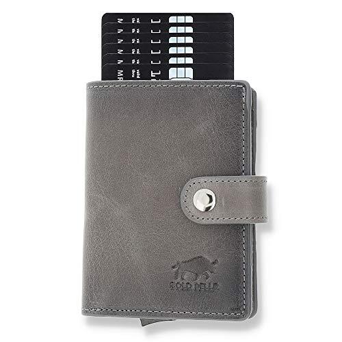Solo Pelle Geldbörse für 15 Karten + Geldscheine + Kleingeld geeignet | Kreditkartenetui Kartenetui mit RFID aus echtem Leder Q-Wallet (Steingrau + Kleingeldfach) in gebrauchtem Aussehen