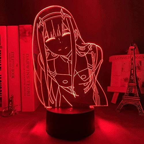 wikkeny Lámpara 3D Led Night Light Zero Two Figure Mesa para la decoración de la habitación Luz Anime Waifu Gift Darling in The Franxx Zero Two Lamp-16 Color