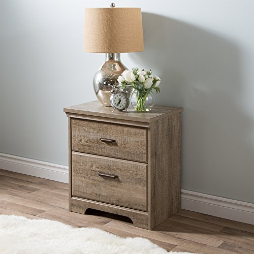 South Shore Versa 2-Drawer Nightstand, Weathered Oak with Antique Handles