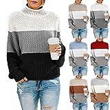 qulvyushangmaobu suéter Holgado de Mujer de Cuello Alto de Manga Larga suéter de Tres Rayas de Colores Costura de Colores