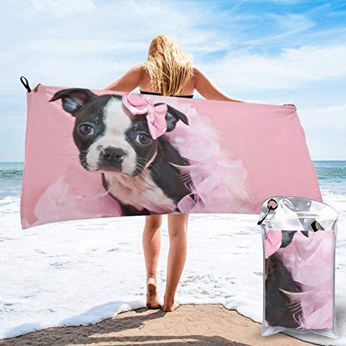 FETEAM Toallas de Playa de Secado rápido con Bolsillo, Boston Terrier Puppy Soft Sand Free Pool Bath Toalla de Viaje al Aire Libre para Acampar Nadar Yoga Deportes
