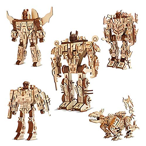 5 Pack Robot Puzzles 3D Wooden Building Blocks Model Self-Assembly Craft Kit DIY Brain Teaser Toys, Christmas Birthday Best Gifts For Kids and Teens