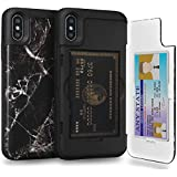 TORU CX PRO iPhone Xs ケース パターン カード 収納背面 3枚 カード入れ カバ― ミラー付き (アイフォンXs/アイフォンX 用) - 黒大理石
